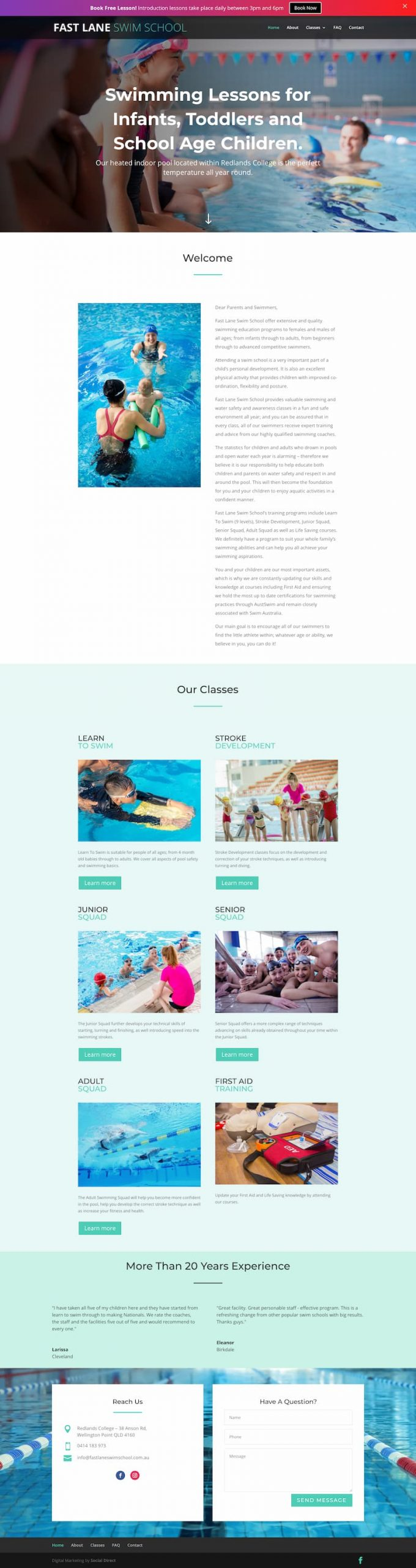 Website for a local swimming school